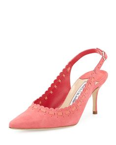 Ciabol+Scalloped+Suede+Slingback+Pump,+Pink+by+Manolo+Blahnik+at+Neiman+Marcus.