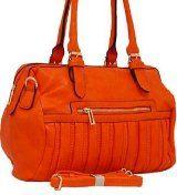 Orange Textured Faux Leather Satchel Purse