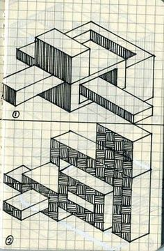 Graph paper isometric sketch Isometric Sketch, Isometric Paper, Graph Paper Drawings, Graph Paper Art, Hand Drawing Reference, Architecture Concept Drawings, Zentangle Patterns, Drawing Techniques, Pattern Art