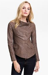 Q40 Asymmetrical Funnel Neck Weathered Leather Jacket