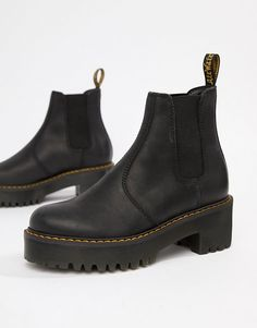 976874cf12e8 Dr Martens Rometty Black Leather Heeled Chelsea Boots