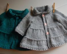 Baby and Toddler Tiered Coat PDF knitting pattern / Fiche Tricot pour manteau de bébé