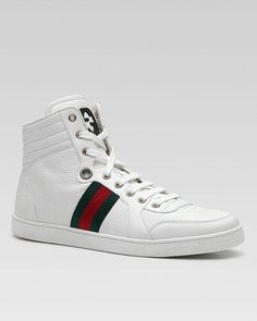 aa507e18340 GUCCI Leather High-top Sneaker White leather with signature green red green  web