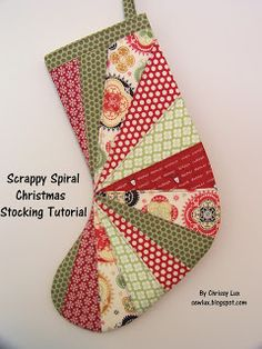 Sew Lux Fabric and Gifts Blog: Scrappy Spiral Stocking Tutorial