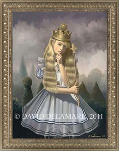 """""""Queen Alice"""" (Through the Looking Glass painting by David Delamare)    Information and Alice in Wonderland products available at www.daviddelamare.com/alice.html      Artwork © David Delamare.   Product design © Wendy Ice.  Alteration of artwork strictly prohibited by law.  Artist authorizes """"repin"""" of this image only if this caption is unchanged.  Please use comments box (not caption) for any personal notes."""