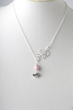 Silver bird and branch lariat necklace with pink