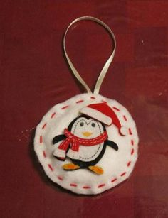 Cute stuffed Puffy Felt Penguin in Santa hat and scarf Holiday Christmas Ornament by emmadreamstar for $5.00