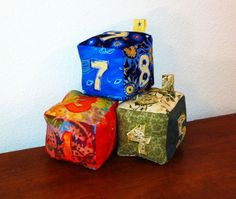 DIY stuffed blocks with embroidered numbers