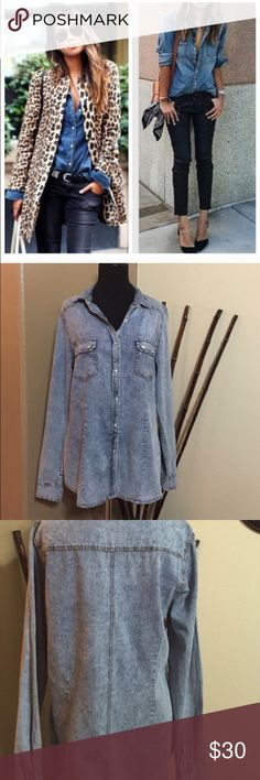 Chambray Shirt! Brand New Never Worn! Bought from Nordstrom Rack. Already have 3 others so getting rid of this one as it is a little big on me. 100% cotton. PTP is 19' across laying flat. From shoulder to hem is 26' long. Sleeves are 26' long. 🌟profile pic styling idea only🌟 Tops Button Down Shirts