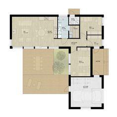 Kuvahaun tulos haulle l-muotoinen talo My House, New Homes, Floor Plans, Layout, Windows, Flooring, How To Plan, Architecture, Building