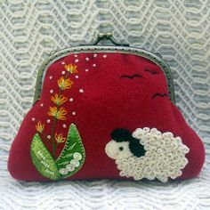 A Sheep in the Meadow Coin Purse   PDF Pattern by HanhansStitching, $9.00