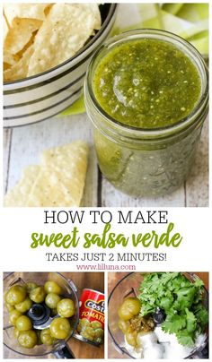 Salsa Verde Sweet Salsa Verde – a delicious salsa recipe that is sweet and spicy and takes just minutes to make. Mexican Dishes, Mexican Food Recipes, Healthy Recipes, Green Salsa Recipes, Fast Recipes, Salsa Guacamole, Salsa Salsa, Cilantro Salsa, Sweet Salsa