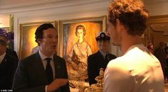 Sherlock star Benedict Cumberbatch looked star-struck as he got the chance to offer his be...