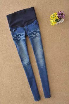 6a5a4b2af Nuevos pantalones de maternidad elástico de cintura alta Leggings Jeans  pant para mujeres embarazadas barato ropa