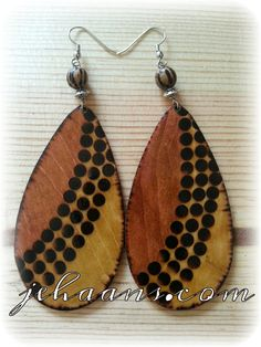 Spotted Rainbow Tears Woodburned Earrings by JEHAANS on Etsy