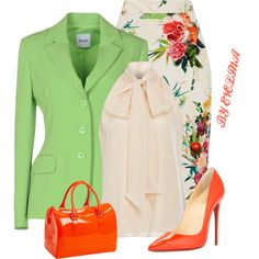 A fashion look from February 2017 featuring sleeveless blouse, green jacket and floral skirt. Browse and shop related looks. Fashion Moda, Look Fashion, Womens Fashion, Fashion Tips, Classy Outfits, Stylish Outfits, Work Attire, Office Outfits, Mode Inspiration