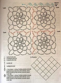 How to Crochet a Solid Granny Square Point Granny Au Crochet, Poncho Crochet, Crochet Flower Scarf, Bonnet Crochet, Crochet Motifs, Crochet Blocks, Crochet Diagram, Crochet Chart, Crochet Squares