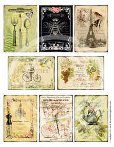 8 Vintage Birds Paris Eiffel Tower Flower Rose Butterfly Botanical ledge French ACEO Card Gift Tags Label Digital Collage Sheet Images Sh139 via Etsy