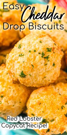 These Cheddar Drop Biscuits are loaded with Cheddar and Colby Jack Cheese and topped with garlic butter. Theyre a savory buttery and cheesy biscuit recipe everyone will love! Garlic Cheese Biscuits, Drop Biscuits, Cheddar Bay Biscuits, Cheddar Cheese Recipes, Beef Steak Recipes, Sausage Recipes, Potato Recipes, Drop Biscuit Recipes, Salad