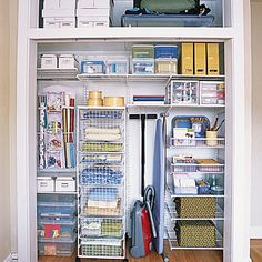 Take advantage of ample closet space by investing in a storage system. Tracks mounted on the back wall suppor the weight of wire shelves in this utility closet. Source by giselawgner closet Organisation Hacks, Coat Closet Organization, Clutter Organization, Closet Storage, Book Storage, Organizing Life, Closet Shelves, Small Space Office, Small Space Storage