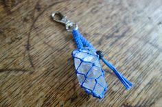 Dusty blue waxed cord macrame crochet keychain large quartz