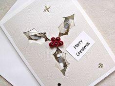 handmade iris fold Christmas card Merry by sayitwithblooms