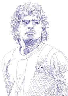 "Tschutti Heftli 2018 Contest ""Ho visto Maradona"" on Behance Maradona Tattoo, Escudo River Plate, Football Wallpaper Iphone, Ariel Coloring Pages, Argentina Football, Blue Drawings, Diego Armando, Portrait Sketches, Aesthetic Iphone Wallpaper"