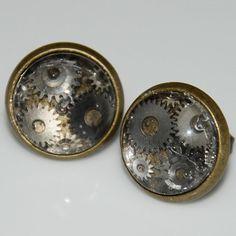 Steampunk Multi Gear Stud Earrings in Anitque