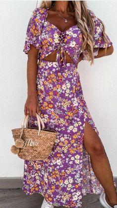 Purple maxi dress, cut out detail, cut out dress, floral dress, floral print dress, side split dress, maxi dress, summer maxi dress Side Split Dress, Angel Sleeve, Dress First, Online Boutiques, Fashion Online, Floral Prints, Purple Maxi, Cold Shoulder Dress, Summer Maxi