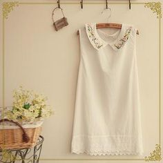 Buy 'Fairyland – Embroidered Collar Lace-Hem Sleeveless Top' with Free International Shipping at YesStyle.com. Browse and shop for thousands of Asian fashion items from China and more!