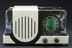 Baby Addison A2 in Marbled Navy Blue + White Art Deco Bakelite Radio