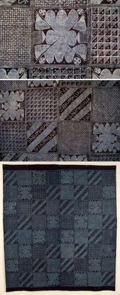 Africa | Adire cloth from the Yoruba people of Nigeria | Cotton; starch resist indigo dyed | ca. 1960s.