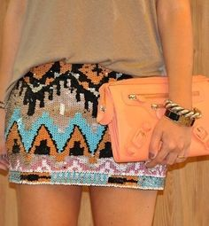 Sequin Aztec Skirt