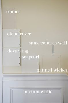 We have just painted our living room and dining room Sonnet by Benjamin Moore. It is a very soft, light reflective white with taupe undertones. We have lots of white wainscoting and trim in those rooms and it looks marvelous with Benjamin Moore Atrium White.....I have the hardest time with picking out wall color... but I got Sonnet right!...The Enchanted Home: paint colors