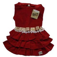 Vestido para Cachorro Veludo Cotelê Vermelho Dudog Vest - MeuAmigoPet.com.br #petshop #cachorro #cão #meuamigopet