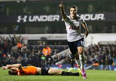 Lamela runs off to celebrate his strike against Brighton,the Championship side, with the home fans at White Hart Lane as Spurs go through to the quarter final of the Carling One Cup with a 2-0 win.