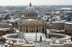 St. Peter's Basilica (Vatican City) covered in snow - February 5th, 2012.