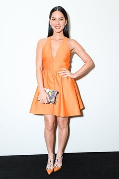 Pin for Later: Orange Was the New Black at Last Night's Valentino Event Olivia Munn It was all orange everything for actress Olivia Munn.