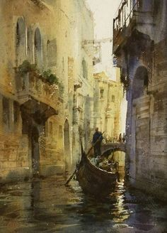 Lovely colors and atmosphere in this painting of Venice, Italy by Chien Chung Wei (watercolor rendering of the historical architecture Venice). Watercolor Architecture, Watercolor Landscape, Landscape Paintings, Landscapes, Watercolor Artists, Watercolor Paintings, Watercolours, Watercolor Trees, Watercolor Portraits