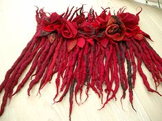 red dreads and roses wetfelted scarf. I love this, its very original.