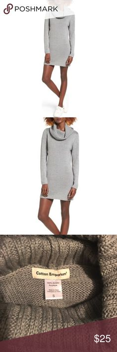 "Turtleneck Sweater Dress Cotton Emporium Turtleneck Sweater Dress   A beautifully draped turtleneck tops this soft sweater-dress, instantly upping the cozy factor of the knit style. Gray color. Fits TTS. Brand new, no tag.  * 32"" length * Turtleneck * Long sleeves * 100% acrylic * Machine wash cold, dry flat Nordstrom Dresses Long Sleeve"