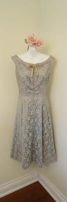 Vintage 1950s Styled by Ricky Toronto Boat Neck Sleeveless Lace Party Prom Dress    @Julie Palmer I really like this one.