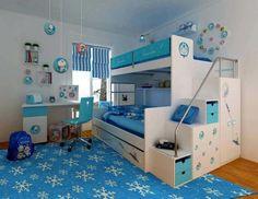 """déco chambre enfant sur le thème de """"La Reine des Neiges"""" : lit superposé en blanc neige, bureau blanc et suspensions assorties"""