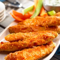 Golden Buffalo Tenders: Delectable with blue cheese!  #party #buffalo #chicken