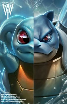 Squirtle and Blastoise Split Pokemon Evolutions 11 by Wizyakuza Pokemon Fan Art, Pokemon Legal, Pokemon Starters, Pokemon Pictures, Charizard, Digimon, Game Art, Manga Anime, Comic Art
