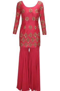 Red embroidered short kurta gharara set by Astha Narang.  Shop at : http://www.perniaspopupshop.com/designers/astha-narang   #shopnow #perniaspopupshop #asthanarang