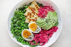Full of vibrant greens, fermented vegetables and haloumi (!), this bowl is everything I could want in a breakfast and more!