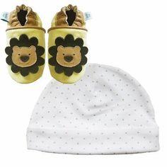 Dotty Fish nouveau cuir souple chaussures de bébé lion et brun cadeau chapeau…