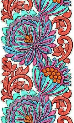 Floral Pattern Embroidery Lace Border Design
