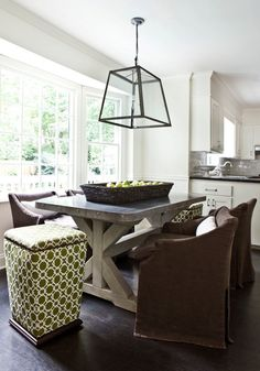 concrete dining table + lantern pendant + lattice print stools | melanie turner